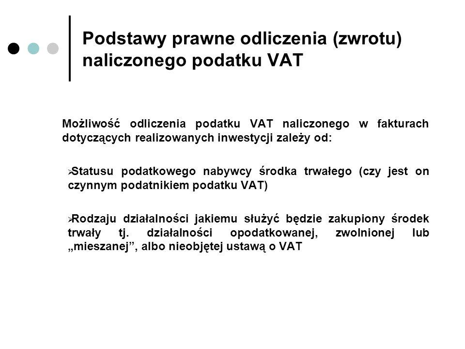 Podstawy prawne odliczenia (zwrotu) naliczonego podatku VAT Możliwość odliczenia podatku VAT naliczonego w fakturach dotyczących realizowanych inwesty