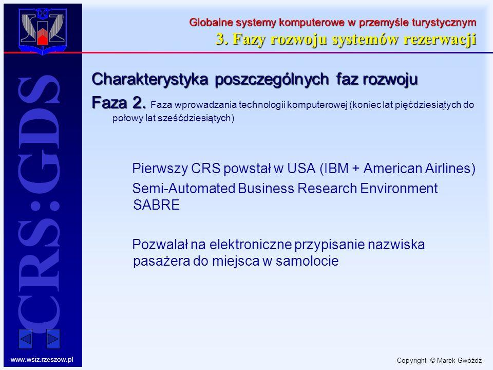 Copyright © Marek Gwóźdź www.wsiz.rzeszow.pl CRS:GDS Globalne systemy komputerowe w przemyśle turystycznym 3. Fazy rozwoju systemów rezerwacji Charakt