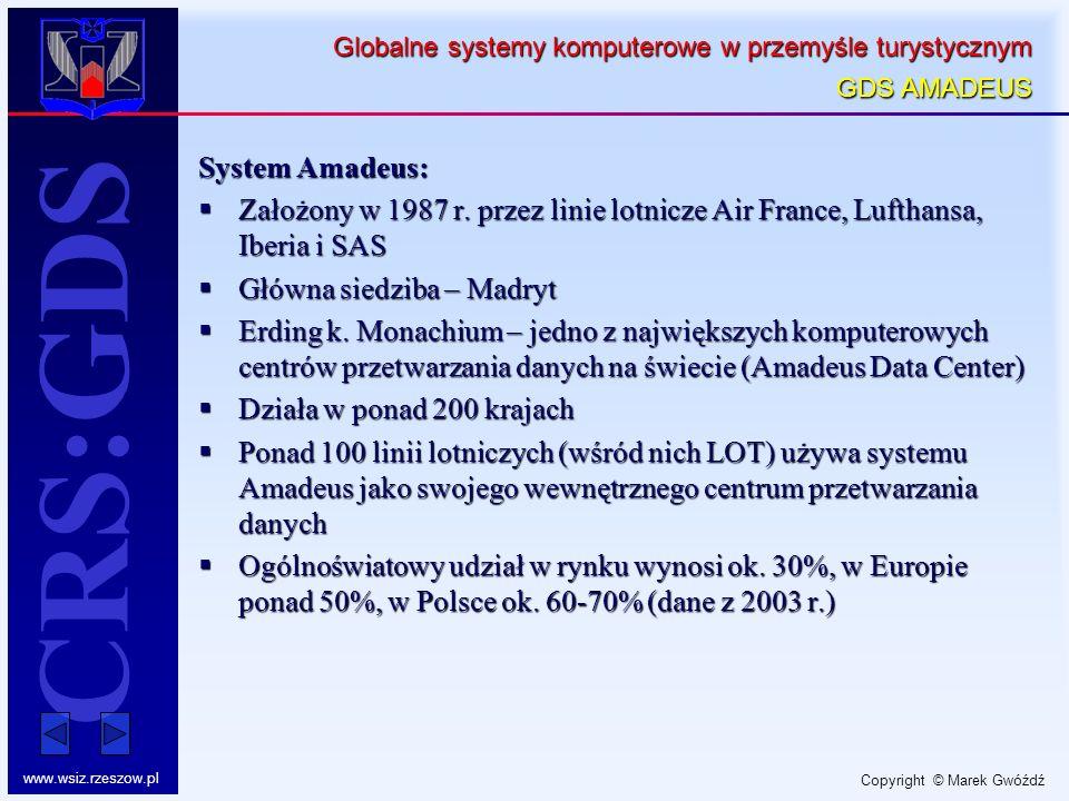Copyright © Marek Gwóźdź www.wsiz.rzeszow.pl CRS:GDS Globalne systemy komputerowe w przemyśle turystycznym GDS AMADEUS System Amadeus: Założony w 1987