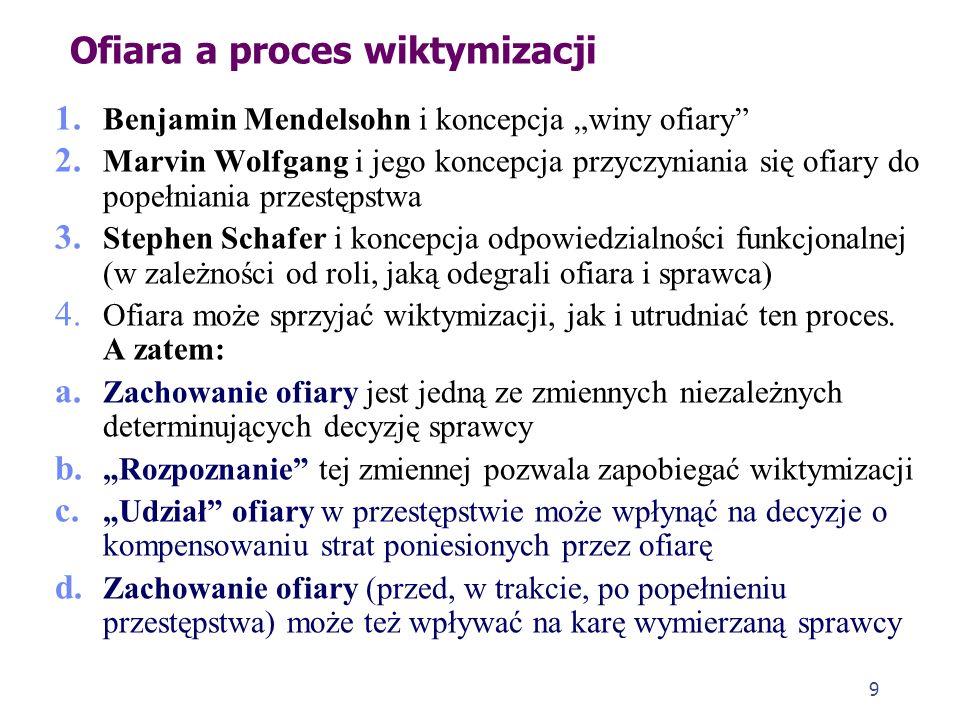 9 Ofiara a proces wiktymizacji 1.Benjamin Mendelsohn i koncepcja winy ofiary 2.