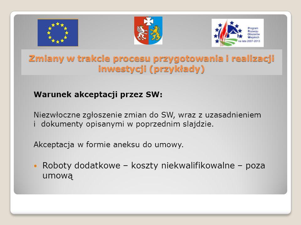 Z miany w trakcie procesu przygotowania i realizacji inwestycji (przykłady) Warunek akceptacji przez SW: Niezwłoczne zgłoszenie zmian do SW, wraz z uzasadnieniem i dokumenty opisanymi w poprzednim slajdzie.
