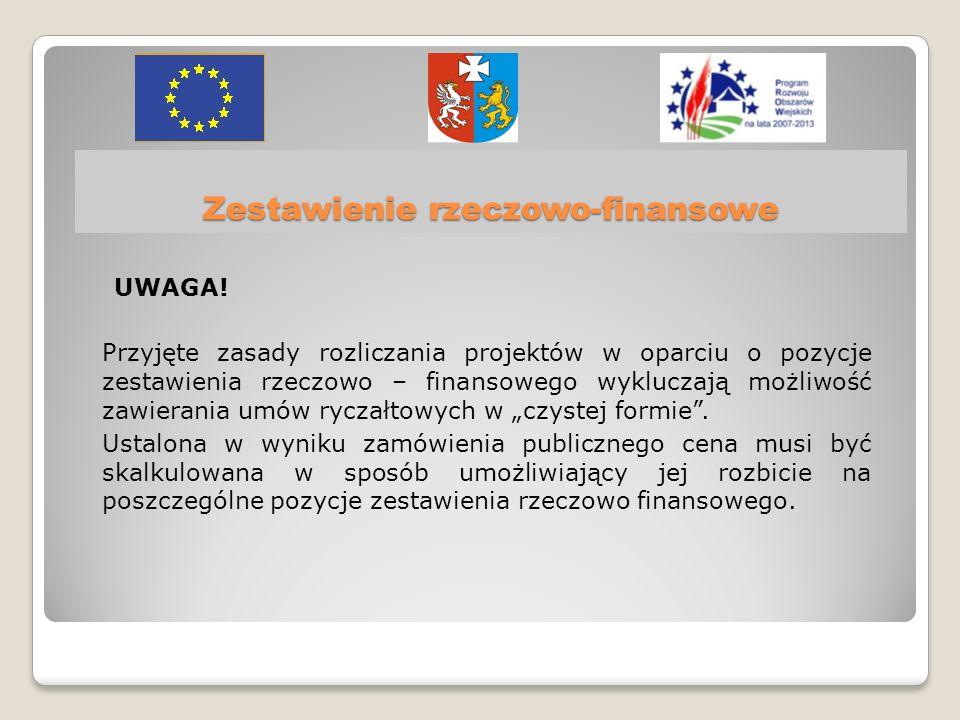 Zestawienie rzeczowo-finansowe UWAGA.