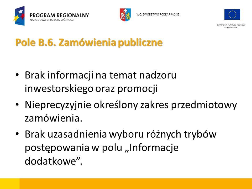 Pole B.6. Zamówienia publiczne Brak informacji na temat nadzoru inwestorskiego oraz promocji Nieprecyzyjnie określony zakres przedmiotowy zamówienia.