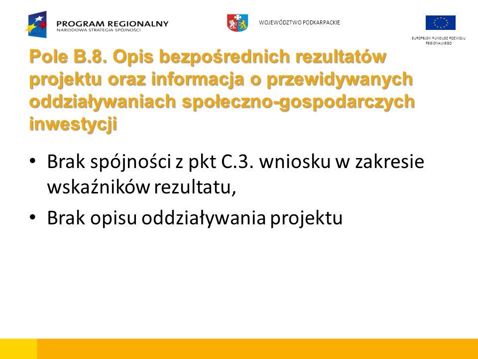 Pole B.8. Opis bezpośrednich rezultatów projektu oraz informacja o przewidywanych oddziaływaniach społeczno-gospodarczych inwestycji Brak spójności z