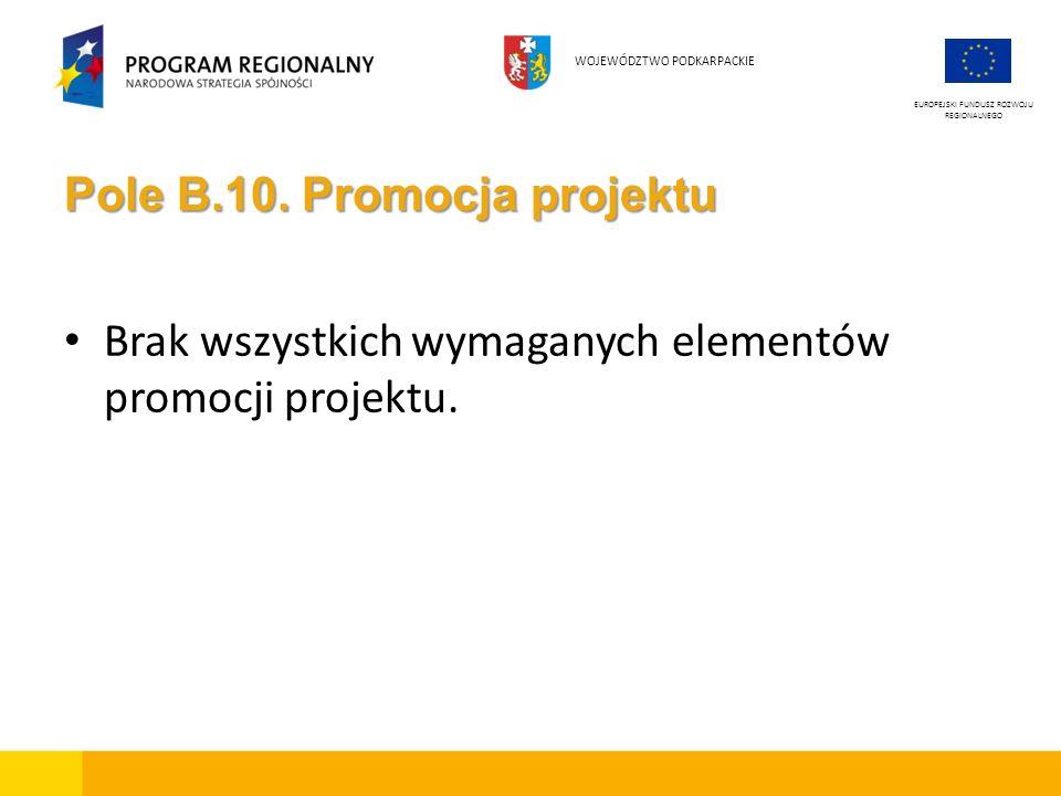 Pole B.10. Promocja projektu Brak wszystkich wymaganych elementów promocji projektu.