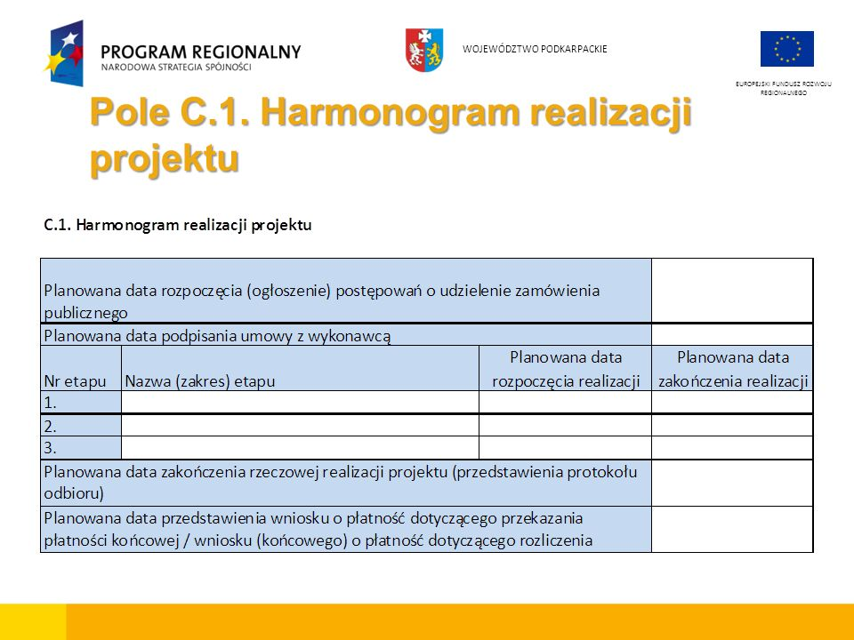 Pole C.1. Harmonogram realizacji projektu EUROPEJSKI FUNDUSZ ROZWOJU REGIONALNEGO WOJEWÓDZTWO PODKARPACKIE