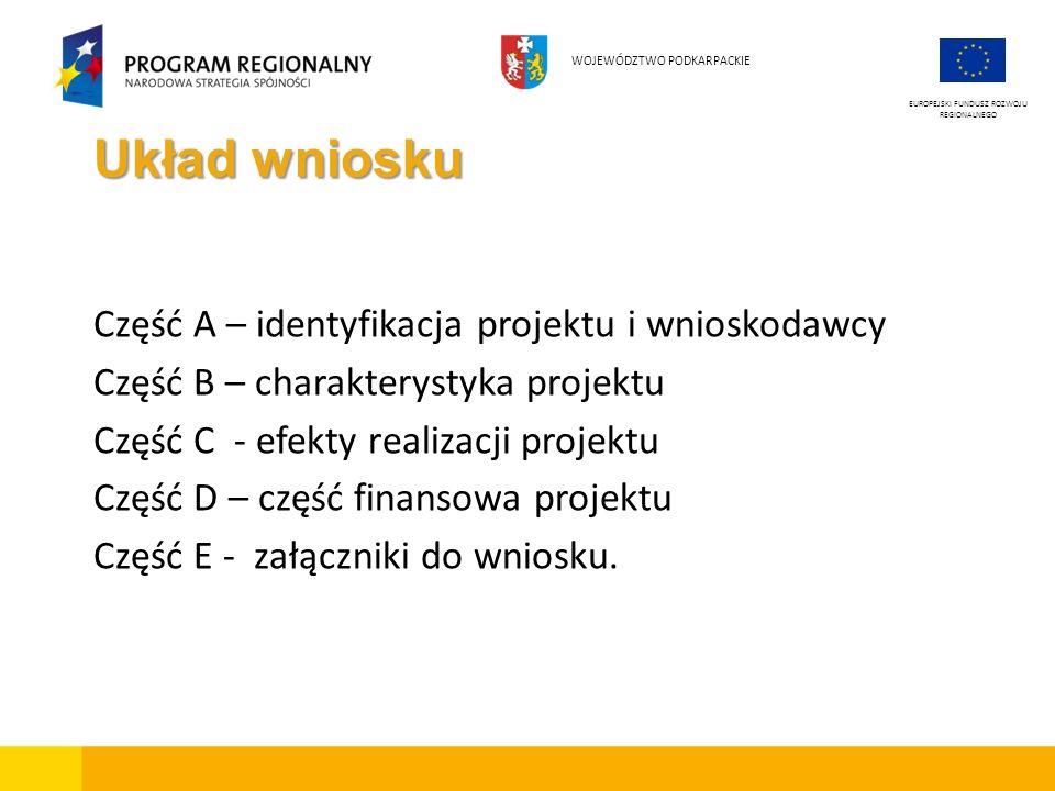 Układ wniosku Część A – identyfikacja projektu i wnioskodawcy Część B – charakterystyka projektu Część C - efekty realizacji projektu Część D – część