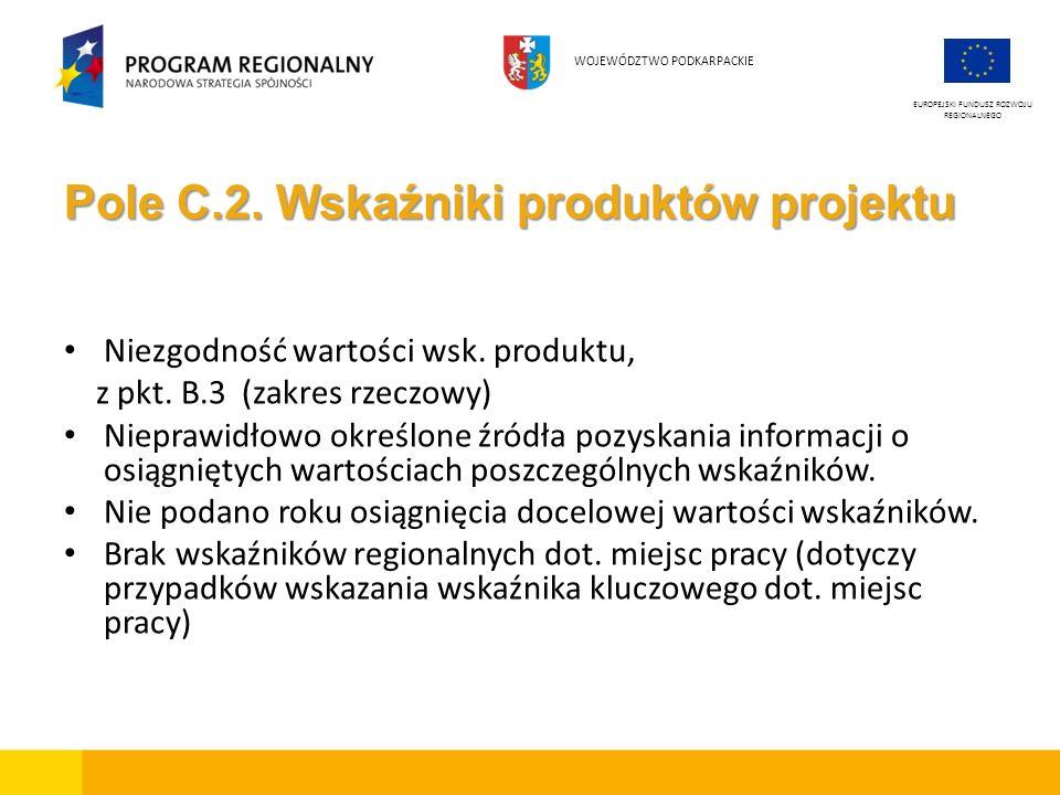 Pole C.2. Wskaźniki produktów projektu Niezgodność wartości wsk. produktu, z pkt. B.3 (zakres rzeczowy) Nieprawidłowo określone źródła pozyskania info