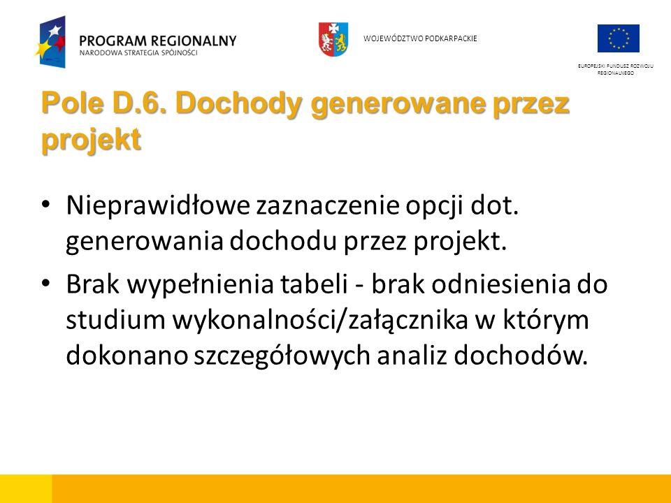 Pole D.6. Dochody generowane przez projekt Nieprawidłowe zaznaczenie opcji dot. generowania dochodu przez projekt. Brak wypełnienia tabeli - brak odni
