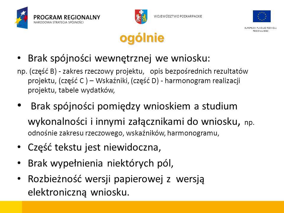 ogólnie Brak spójności wewnętrznej we wniosku: np. (część B) - zakres rzeczowy projektu, opis bezpośrednich rezultatów projektu, (część C ) – Wskaźnik