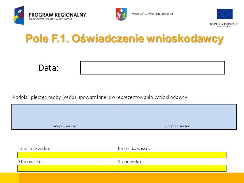 Pole F.1. Oświadczenie wnioskodawcy EUROPEJSKI FUNDUSZ ROZWOJU REGIONALNEGO WOJEWÓDZTWO PODKARPACKIE