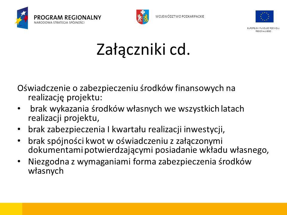 Załączniki cd. Oświadczenie o zabezpieczeniu środków finansowych na realizację projektu: brak wykazania środków własnych we wszystkich latach realizac