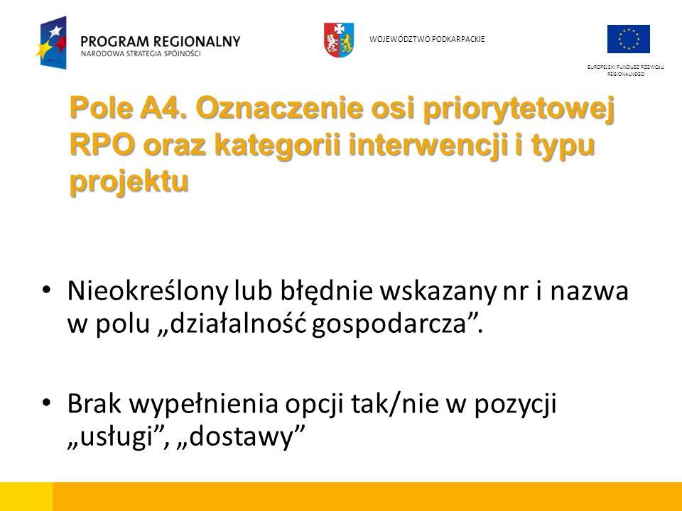Pole A4. Oznaczenie osi priorytetowej RPO oraz kategorii interwencji i typu projektu Nieokreślony lub błędnie wskazany nr i nazwa w polu działalność g