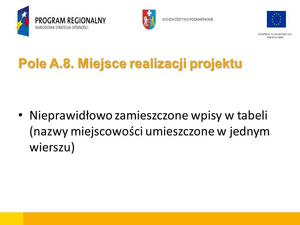 Pole A.8. Miejsce realizacji projektu Nieprawidłowo zamieszczone wpisy w tabeli (nazwy miejscowości umieszczone w jednym wierszu) EUROPEJSKI FUNDUSZ R
