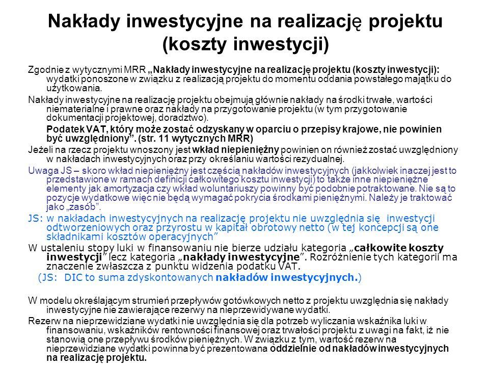 Nakłady inwestycyjne na realizację projektu (koszty inwestycji) Zgodnie z wytycznymi MRR Nakłady inwestycyjne na realizację projektu (koszty inwestycj