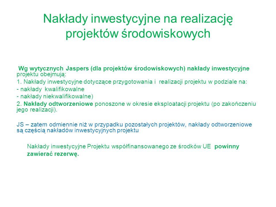 Nakłady inwestycyjne na realizację projektów środowiskowych Wg wytycznych Jaspers (dla projektów środowiskowych) nakłady inwestycyjne projektu obejmuj