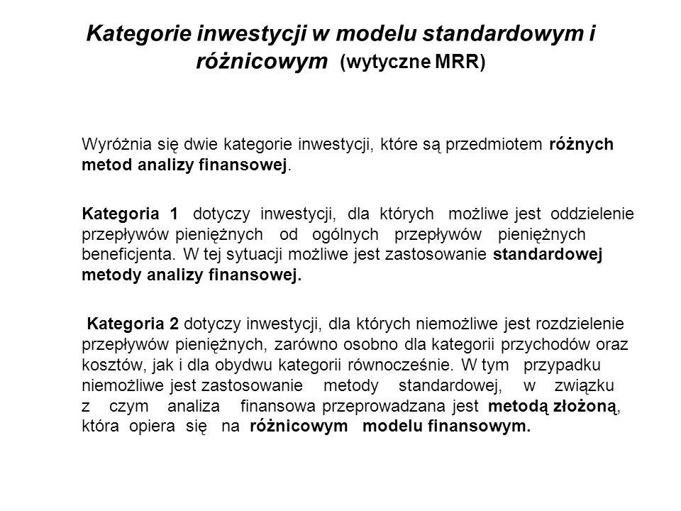 Kategorie inwestycji w modelu standardowym i różnicowym (wytyczne MRR) Wyróżnia się dwie kategorie inwestycji, które są przedmiotem różnych metod anal