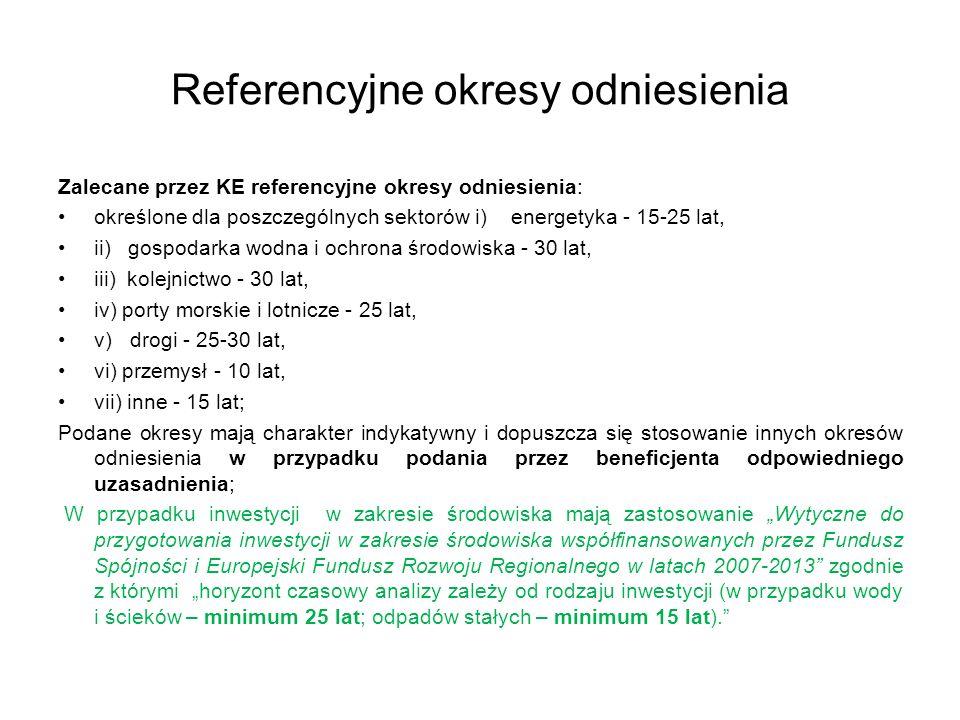 Referencyjne okresy odniesienia Zalecane przez KE referencyjne okresy odniesienia: określone dla poszczególnych sektorów i) energetyka - 15-25 lat, ii