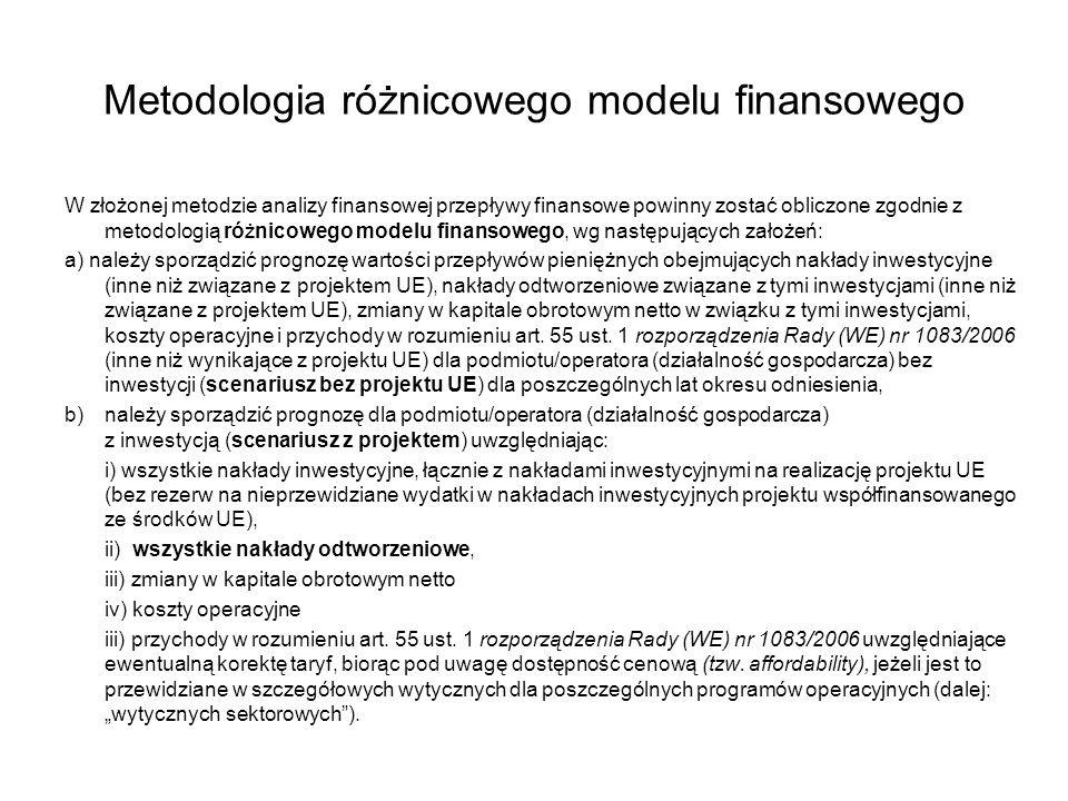 Metodologia różnicowego modelu finansowego W złożonej metodzie analizy finansowej przepływy finansowe powinny zostać obliczone zgodnie z metodologią r