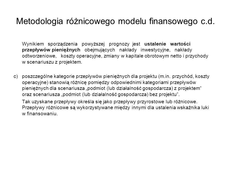 Metodologia różnicowego modelu finansowego c.d. Wynikiem sporządzenia powyższej prognozy jest ustalenie wartości przepływów pieniężnych obejmujących n