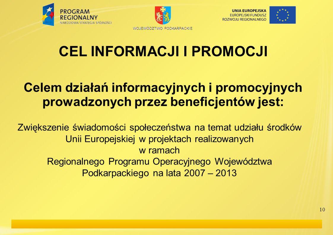 10 CEL INFORMACJI I PROMOCJI Celem działań informacyjnych i promocyjnych prowadzonych przez beneficjentów jest: Zwiększenie świadomości społeczeństwa