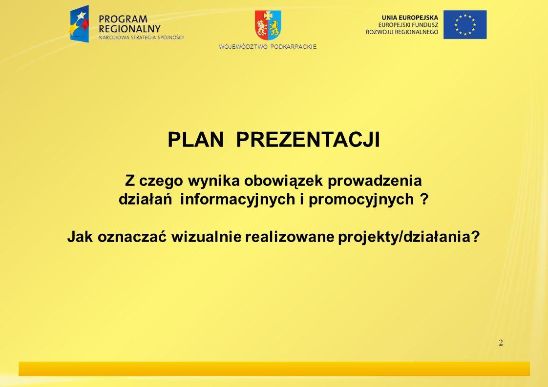 2 PLAN PREZENTACJI Z czego wynika obowiązek prowadzenia działań informacyjnych i promocyjnych ? Jak oznaczać wizualnie realizowane projekty/działania?