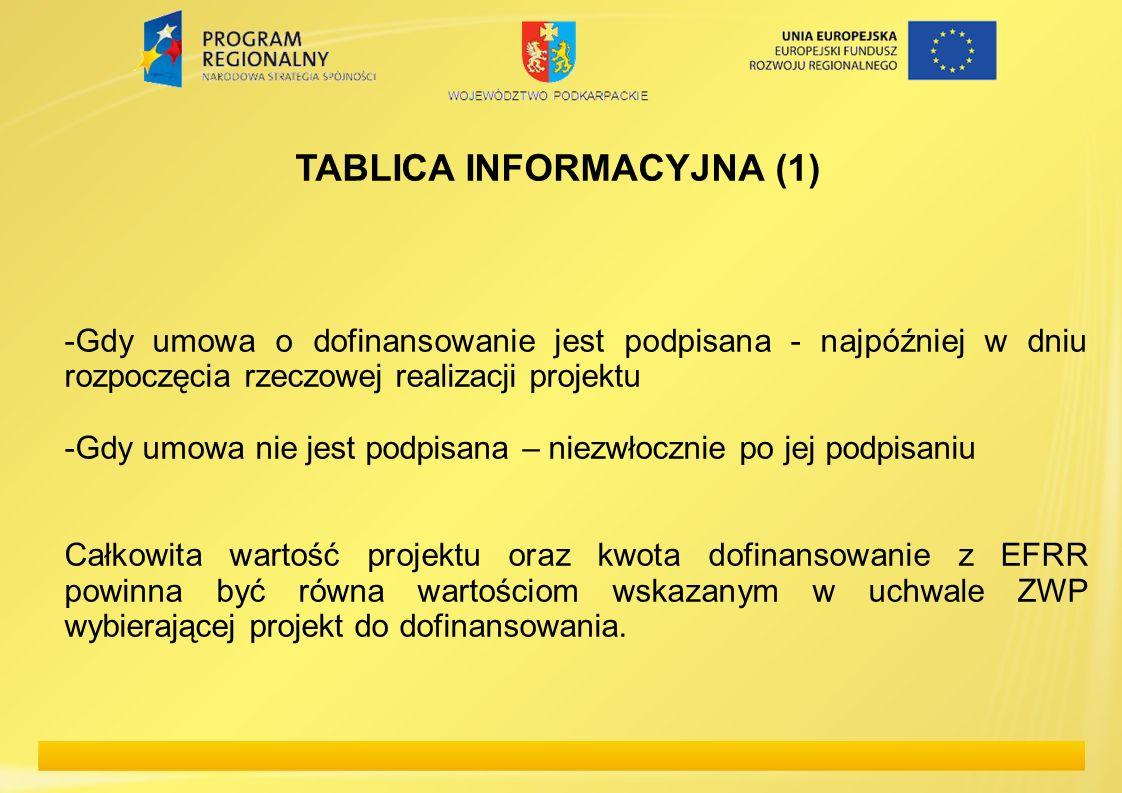 TABLICA INFORMACYJNA (1) -Gdy umowa o dofinansowanie jest podpisana - najpóźniej w dniu rozpoczęcia rzeczowej realizacji projektu -Gdy umowa nie jest