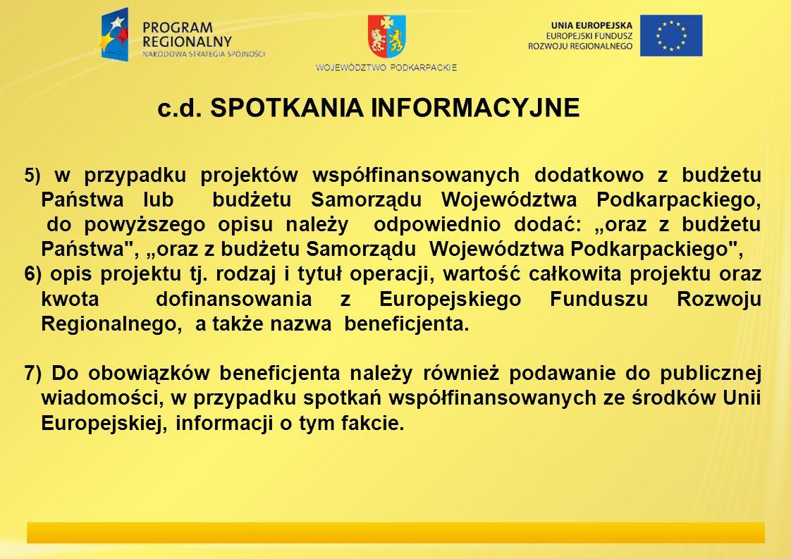 c.d. SPOTKANIA INFORMACYJNE 5) w przypadku projektów współfinansowanych dodatkowo z budżetu Państwa lub budżetu Samorządu Województwa Podkarpackiego,