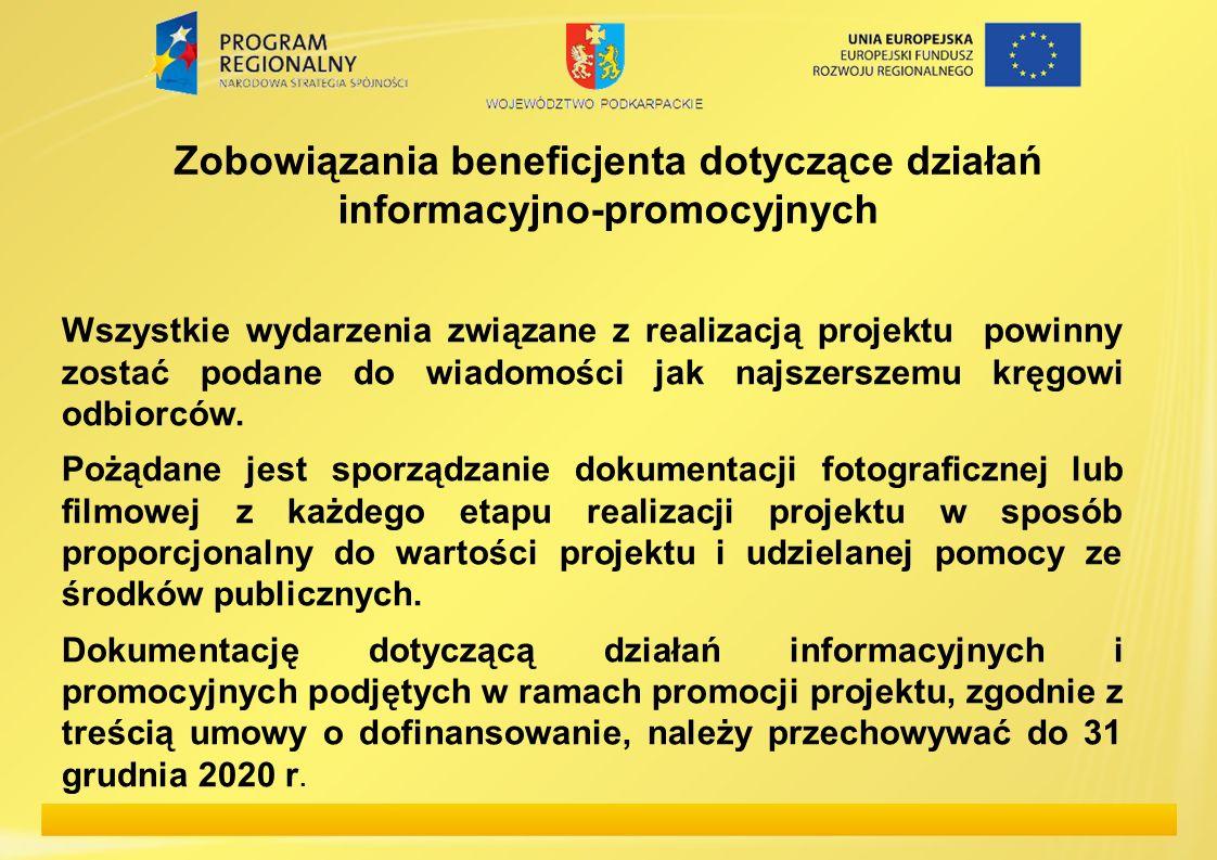 Zobowiązania beneficjenta dotyczące działań informacyjno-promocyjnych Wszystkie wydarzenia związane z realizacją projektu powinny zostać podane do wia