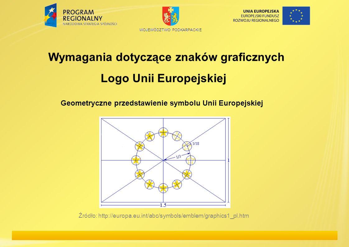 Logo Unii Europejskiej Wymagania dotyczące znaków graficznych Geometryczne przedstawienie symbolu Unii Europejskiej Źródło: http://europa.eu.int/abc/s