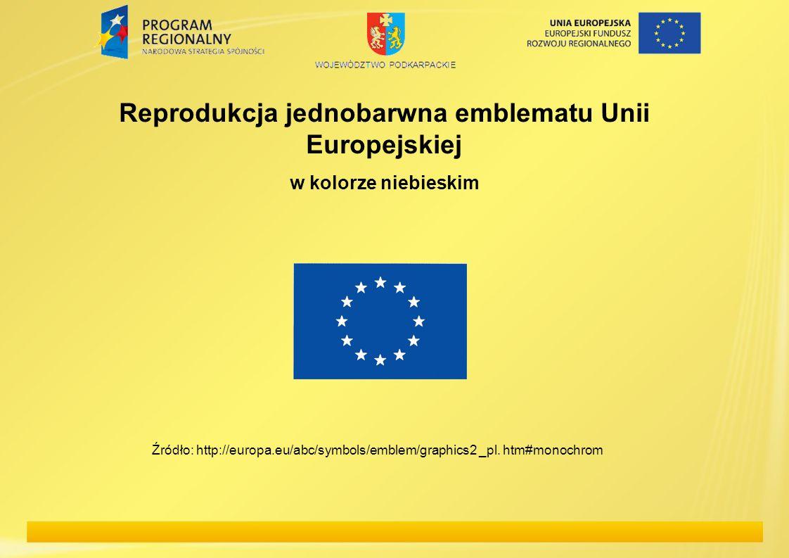 Reprodukcja jednobarwna emblematu Unii Europejskiej w kolorze niebieskim