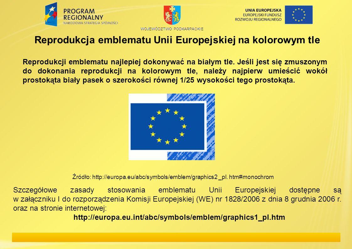 Reprodukcja emblematu Unii Europejskiej na kolorowym tle Reprodukcji emblematu najlepiej dokonywać na białym tle. Jeśli jest się zmuszonym do dokonani