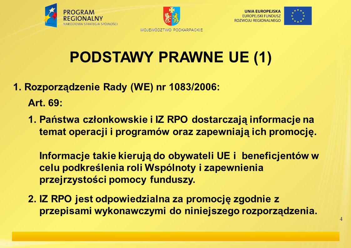 4 PODSTAWY PRAWNE UE (1) 1.Rozporządzenie Rady (WE) nr 1083/2006: Art. 69: 1.Państwa członkowskie i IZ RPO dostarczają informacje na temat operacji i