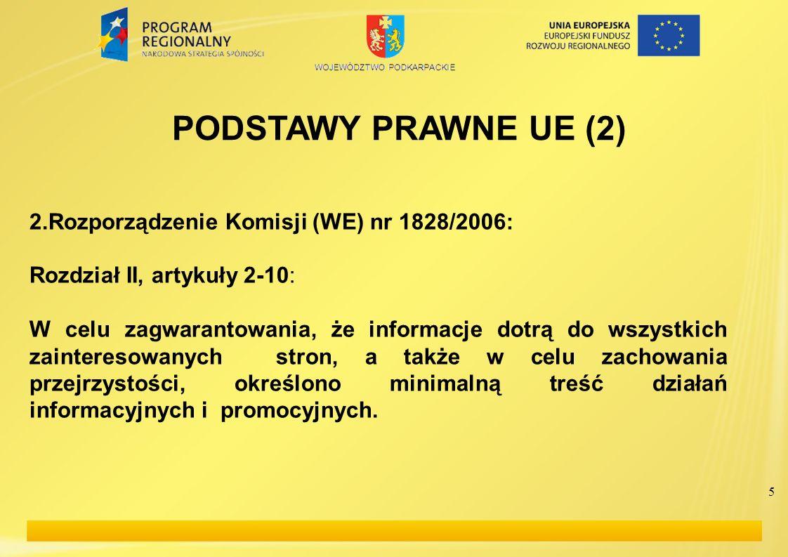 5 PODSTAWY PRAWNE UE (2) 2.Rozporządzenie Komisji (WE) nr 1828/2006: Rozdział II, artykuły 2-10: W celu zagwarantowania, że informacje dotrą do wszyst