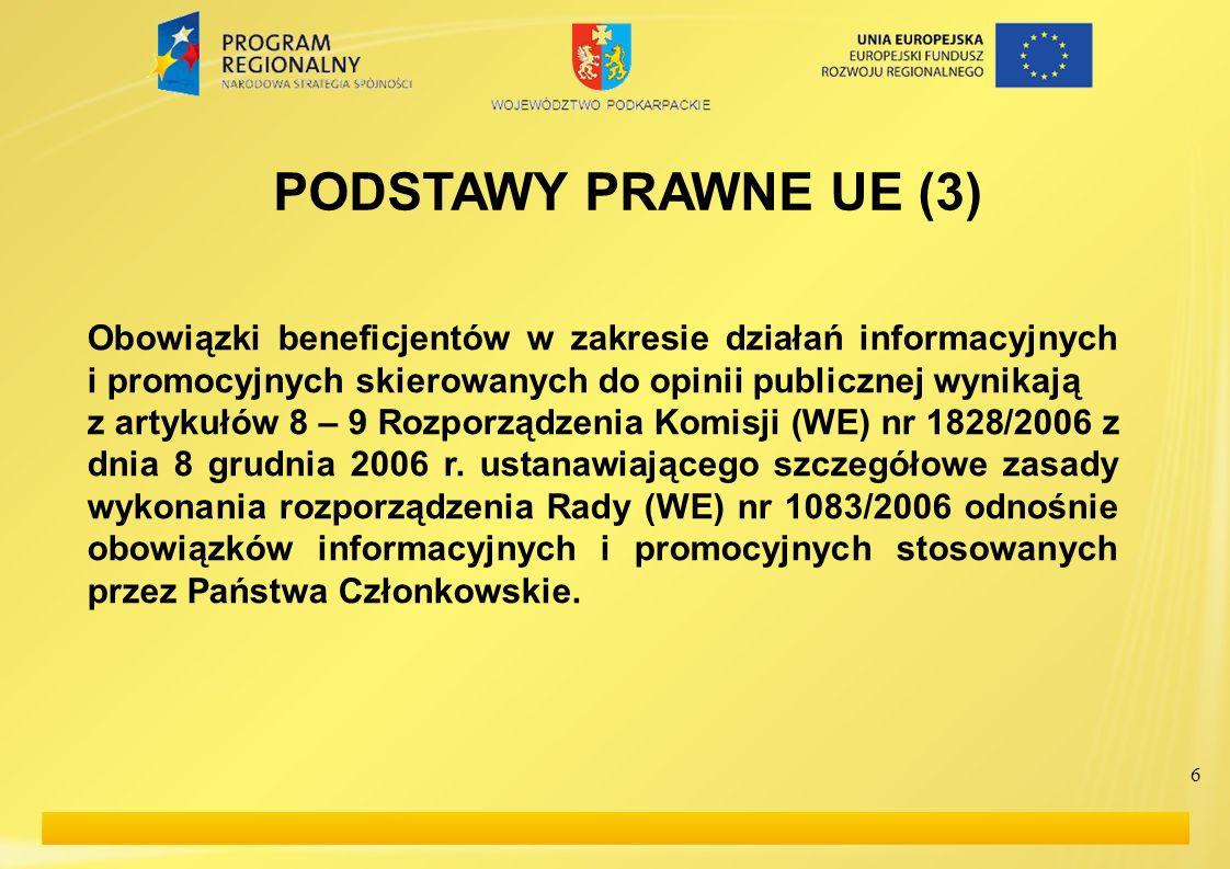 6 PODSTAWY PRAWNE UE (3) Obowiązki beneficjentów w zakresie działań informacyjnych i promocyjnych skierowanych do opinii publicznej wynikają z artykuł