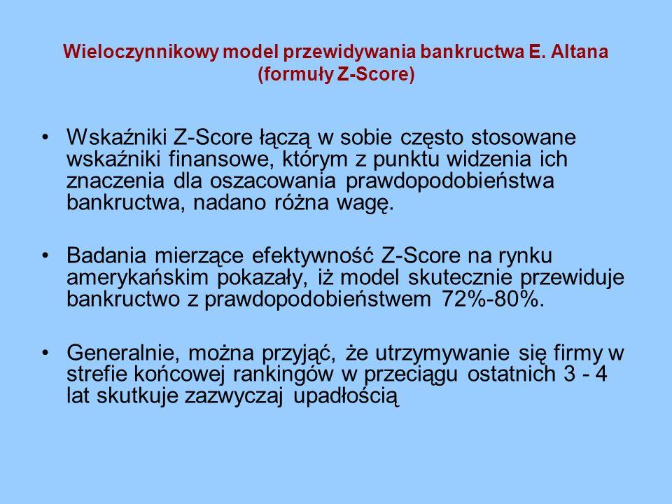 Wieloczynnikowy model przewidywania bankructwa E. Altana (formuły Z-Score) Wskaźniki Z-Score łączą w sobie często stosowane wskaźniki finansowe, który