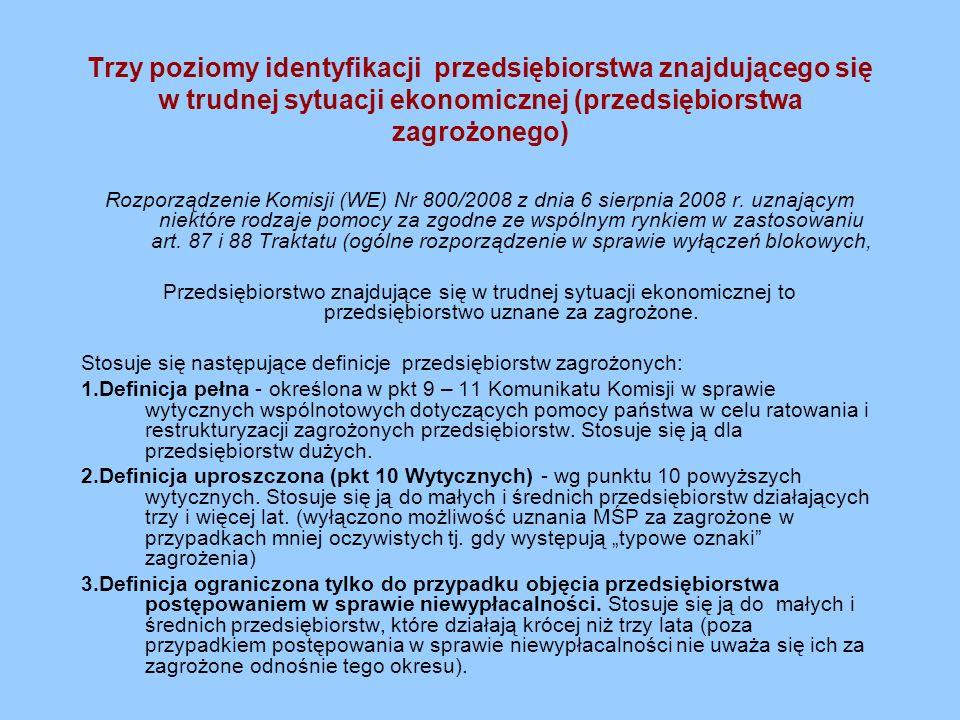 Trzy poziomy identyfikacji przedsiębiorstwa znajdującego się w trudnej sytuacji ekonomicznej (przedsiębiorstwa zagrożonego) Rozporządzenie Komisji (WE