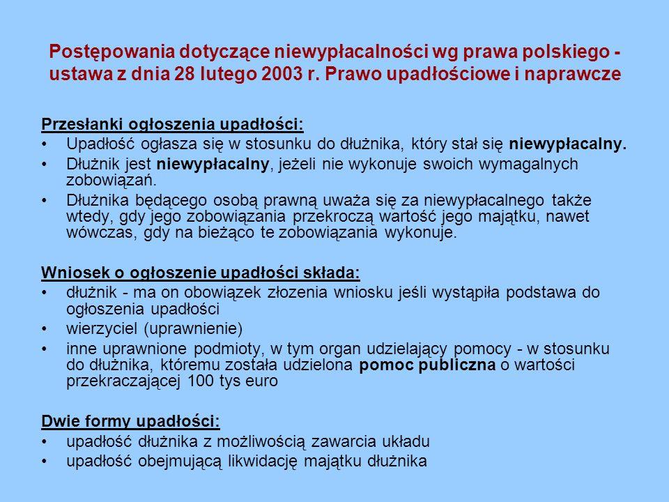 Postępowania dotyczące niewypłacalności wg prawa polskiego - ustawa z dnia 28 lutego 2003 r. Prawo upadłościowe i naprawcze Przesłanki ogłoszenia upad