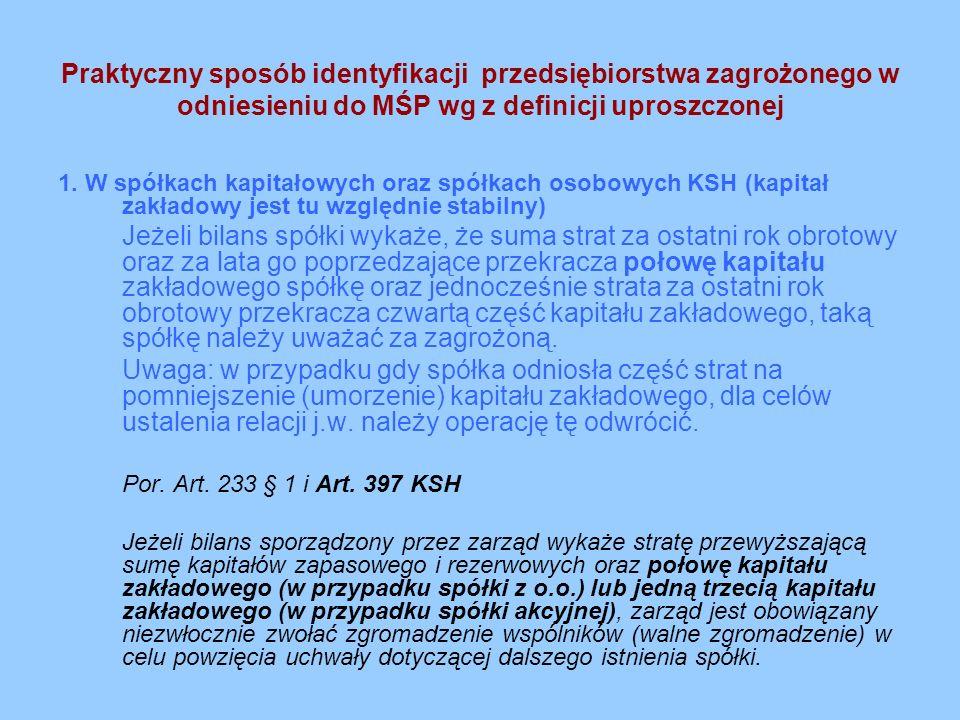Praktyczny sposób identyfikacji przedsiębiorstwa zagrożonego w odniesieniu do MŚP wg z definicji uproszczonej cd.