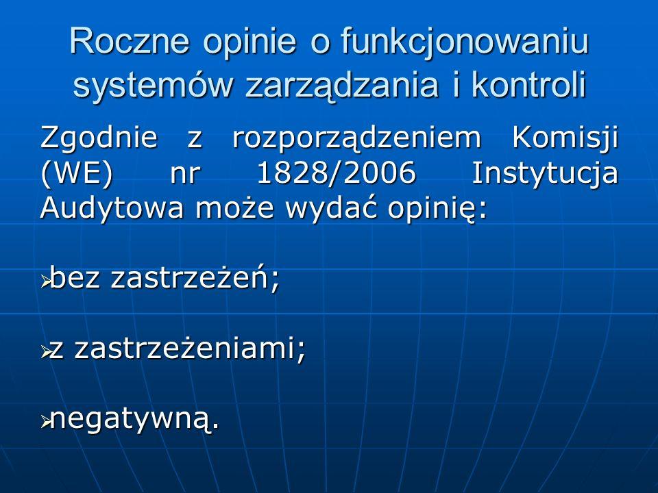 Roczne opinie o funkcjonowaniu systemów zarządzania i kontroli Zgodnie z rozporządzeniem Komisji (WE) nr 1828/2006 Instytucja Audytowa może wydać opin