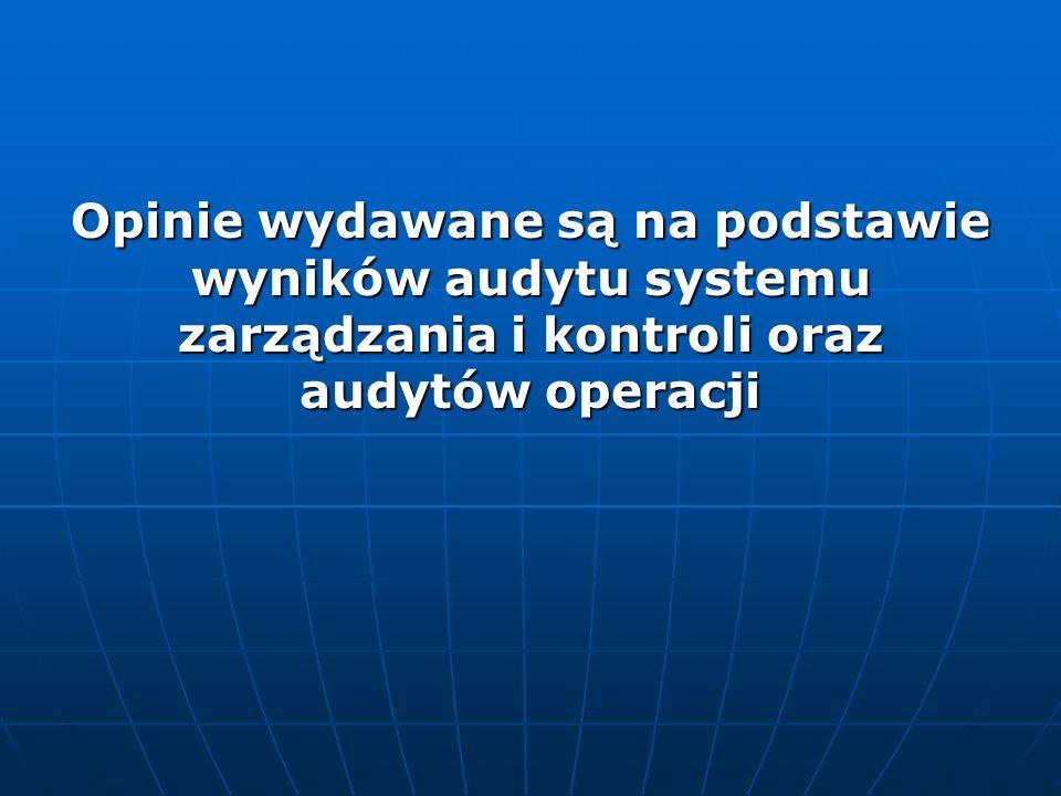 Opinie wydawane są na podstawie wyników audytu systemu zarządzania i kontroli oraz audytów operacji