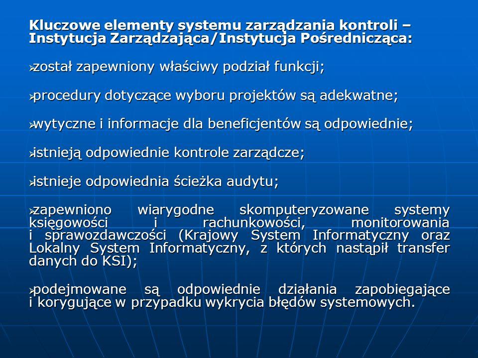 Kluczowe elementy systemu zarządzania kontroli – Instytucja Zarządzająca/Instytucja Pośrednicząca: został zapewniony właściwy podział funkcji; został