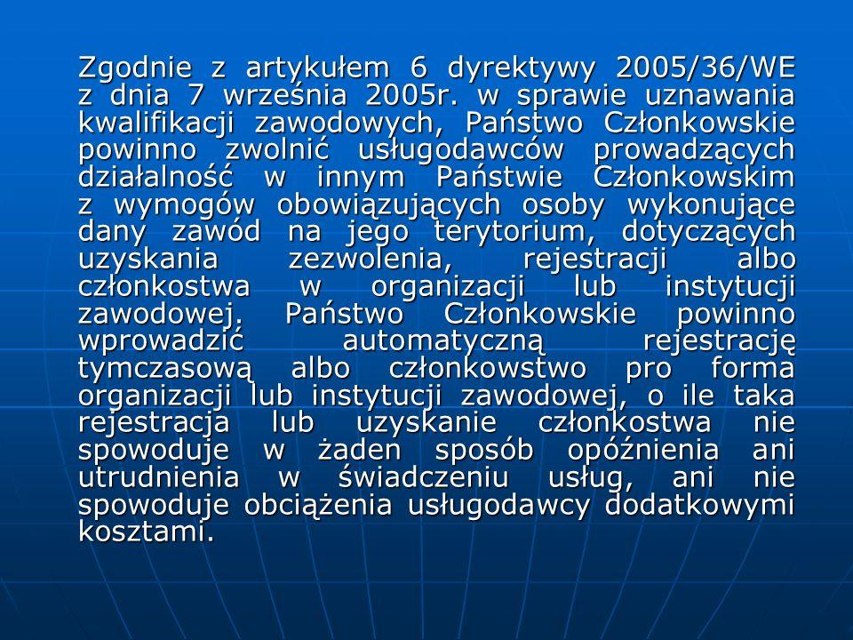 Zgodnie z artykułem 6 dyrektywy 2005/36/WE z dnia 7 września 2005r. w sprawie uznawania kwalifikacji zawodowych, Państwo Członkowskie powinno zwolnić