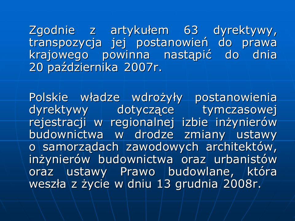 Zgodnie z artykułem 63 dyrektywy, transpozycja jej postanowień do prawa krajowego powinna nastąpić do dnia 20 października 2007r. Polskie władze wdroż