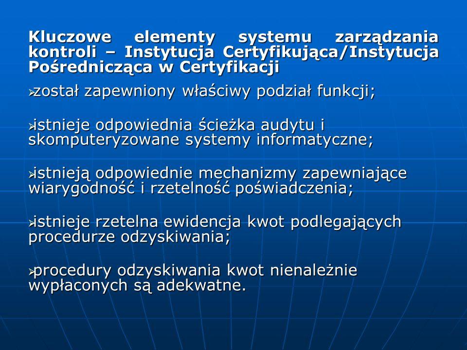 Kluczowe elementy systemu zarządzania kontroli – Instytucja Certyfikująca/Instytucja Pośrednicząca w Certyfikacji został zapewniony właściwy podział f