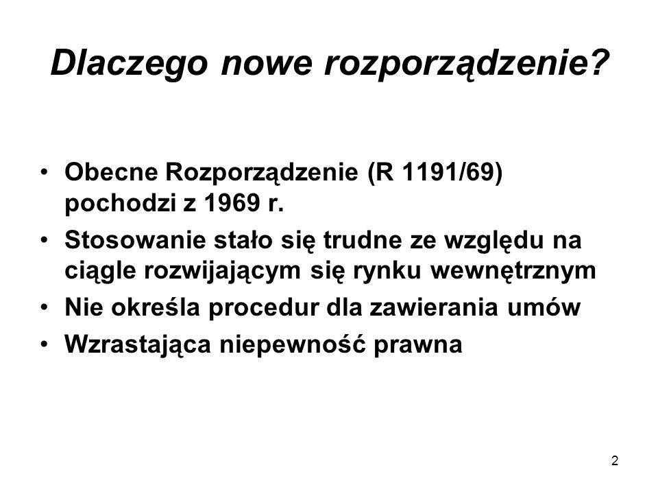 Historia (1) Lata 2000 - 2005 26.07.2000 I projekt KE 14.11.2001 I czytanie w Parlamencie (96 poprawek) 21.02.2002 Poprawiony projekt KE (bez postępów) 24.07.2003 Orzeczenie ETS Altmark Rosnąca niepewność prawna + brak zgody na wspólne stanowisko w ramach Rady