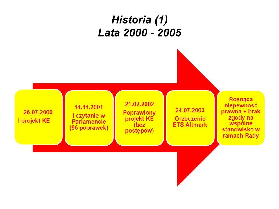 Historia (2) Lata 2005 - 2007 22.07.2005 Zmieniony projekt KE COM (2005) 319 KE opracowuje nowy projekt: 3 główne cele: uproszczenie, elastyczność, więcej subsydiarności 11.12.2006 Wspólne stanowisko w Radzie 10.05.2007 II czytanie w Parlamencie 18.09.2007 Porozumienie Parlamentu i Rady w II czytaniu – przyjęcie rozporządzenia