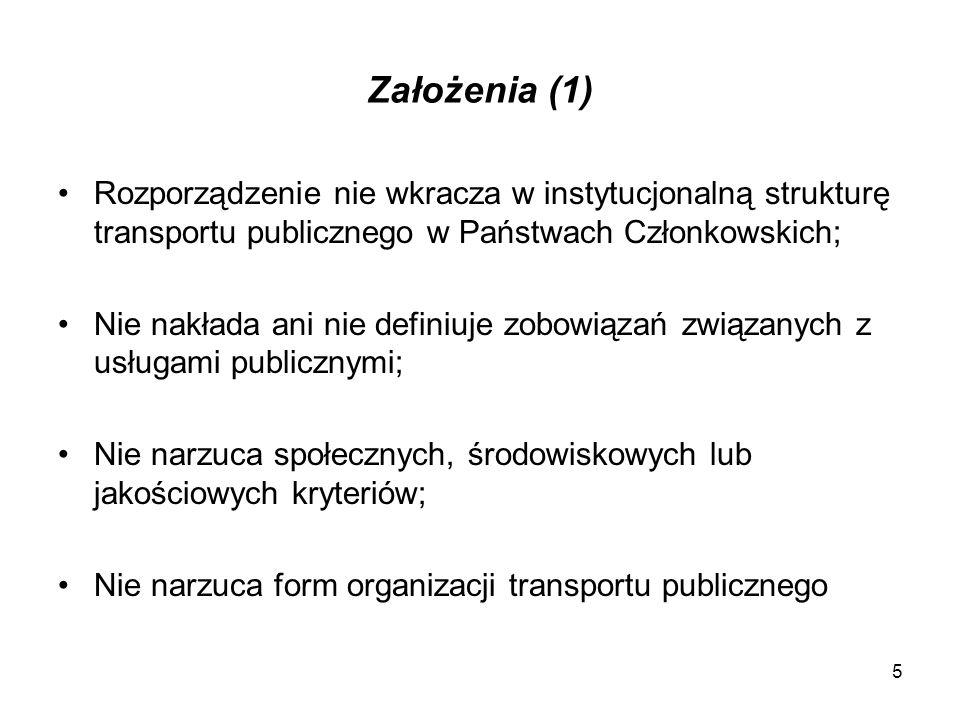 Założenia (2) Wprowadzenie zasad konkurencji do publicznego transportu pasażerskiego Konkurencja regulowana Maksymalne okresy umów Procedura odwoławcza
