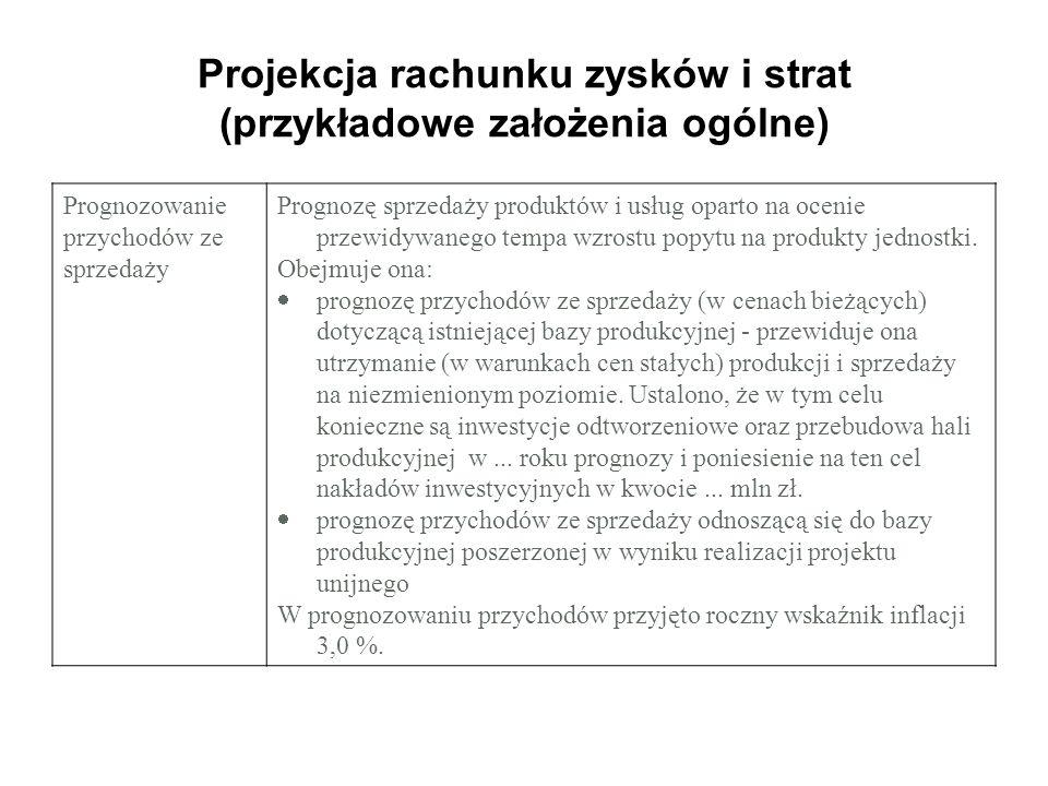 Projekcja rachunku zysków i strat (przykładowe założenia ogólne) Prognozowanie przychodów ze sprzedaży Prognozę sprzedaży produktów i usług oparto na