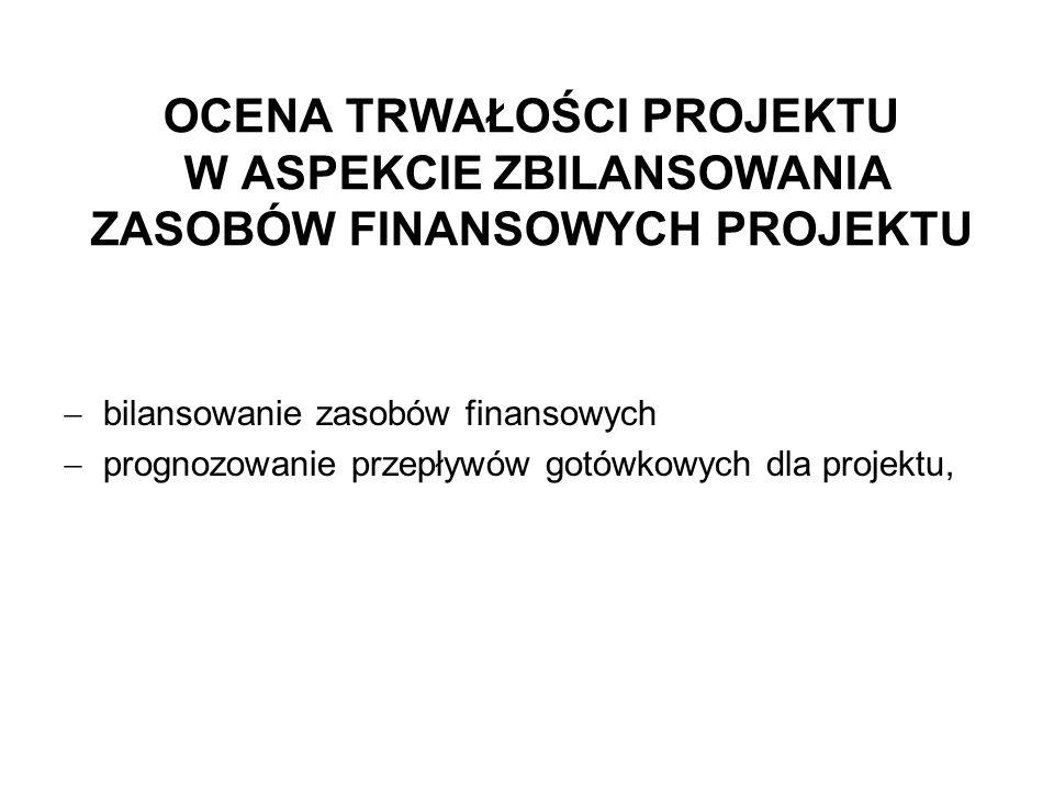 OCENA TRWAŁOŚCI PROJEKTU W ASPEKCIE ZBILANSOWANIA ZASOBÓW FINANSOWYCH PROJEKTU bilansowanie zasobów finansowych prognozowanie przepływów gotówkowych dla projektu,